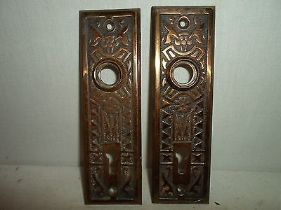 set of 2 matching Victorian / Eastlake metal door back plate,great detail!!! # 8