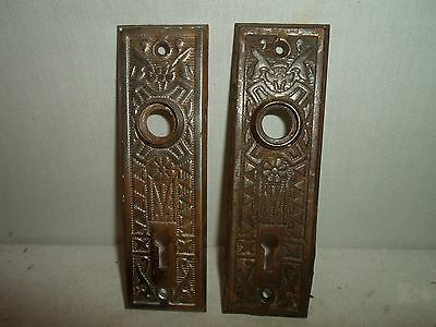 set of 2 matching Victorian / Eastlake metal door back plate,great detail!!! # 7