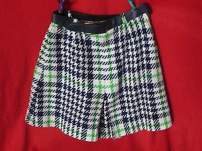 Vintage 70's Girls Tweed Large Plaid Hound Tooth Coolots Shorts w/ Belt sz M S