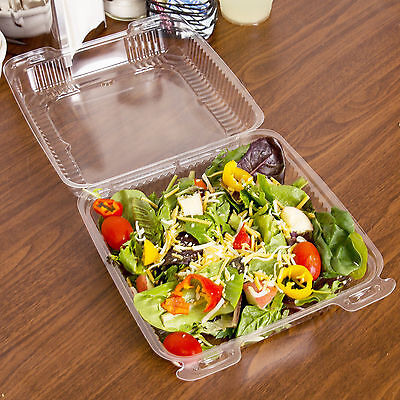 """8"""" x 8"""" x 3"""" Clear Hinged Lid Plastic Container - 250/Case 433PXT880"""