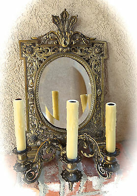 Antique French Brass Wall Sconce Light Fixture w Oval Mirror Louis XV