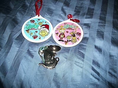 Dr Seuss Christmas Ornaments 3 Total - How The Grinch Stole Christmas &  Fish
