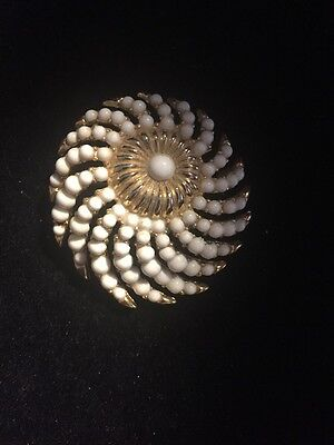 Signed Crown Trifari Rare White Bead Swirl Brooch Alfred Philippe ?