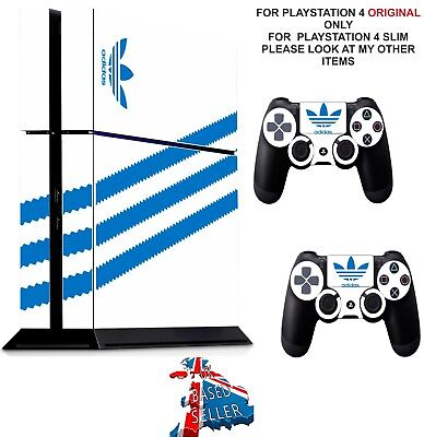 ADIDAS WHITE & BLUE ps4 Skins Decals Stickers Playstation 4 Console  Controller