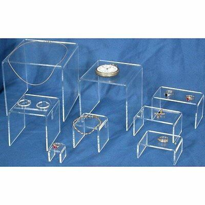8 Clear Acrylic Jewelry Display Risers