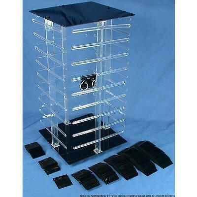 100 Black Earring Cards Revolving Rotating Display 4 Sided Stand