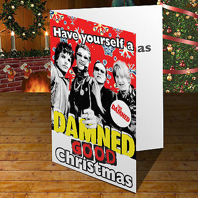 The Damned PUNK Personalised Greeting Xmas Christmas Card WITH BADGE Option
