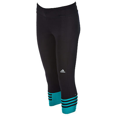 Womens adidas Womens Response 3 Quarter Tights in Black - 12-14