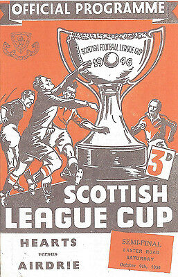 Heart Of Midlothian V Airdrieonians - Scottish League Cup S/f Fixture 1954