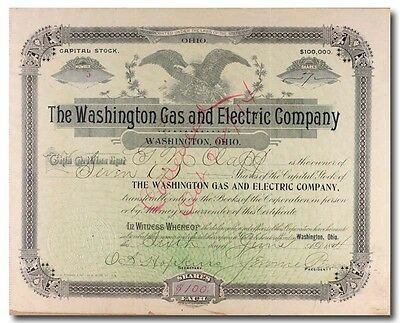 S452 Washington Gas & Electric Company Stock Certificate Green