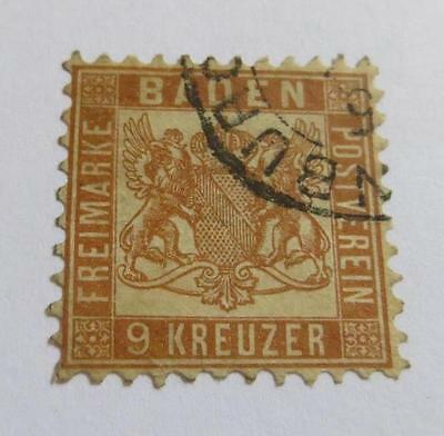 Germany Baden 1862 brown 9k used