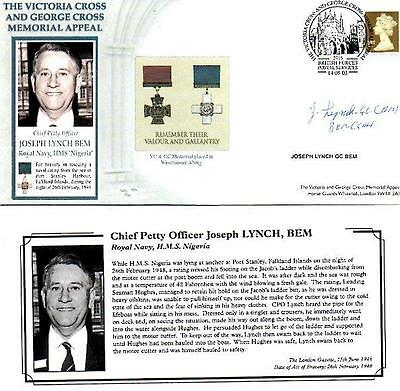 Benham Vc & Gc Memorial Appeal Cover14-5-03 Bfps2715 Sgnd Cpo Joseph Lynch Gc F6