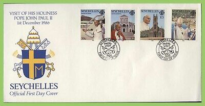 Seychelles 1986 Visit of Pope John Paul set on First Day Cover,(Papal Visit pmk)