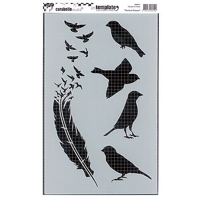 Carabelle Studio Art Stencil 17.5x28cm - Birds and Feather