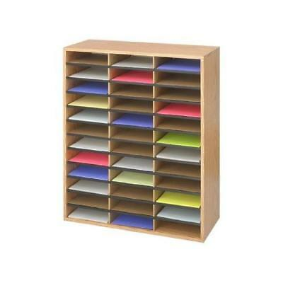 Safco Products 9403MO Literature Organizer Wood/Corrugated, 36 Compartment, New
