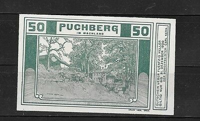 Austria Notgeld Puchberg 50 Heller Old Unc Banknote Paper Money Currency  Note
