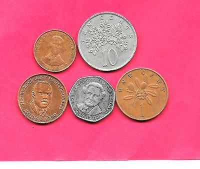Jamaica 5 Diff Different 1971-2005  Coin Lot Collection Set Group Inc Old