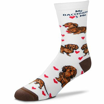 Red Dachshund Hearts Me Socks