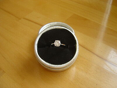 Solitaire  Engagement Ring Diamond Cut.yellow Gold Fillled.  Size. P.5