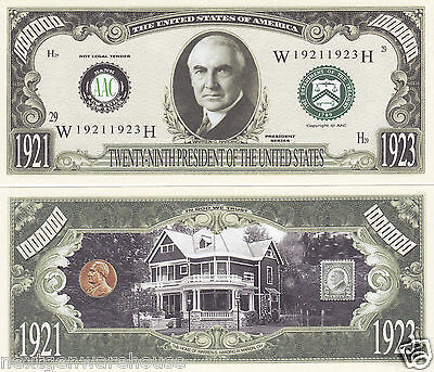 Two Warren G. Harding 29th US President Novelty Bills # P29