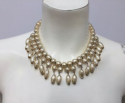 Vintage Miriam Haskell Pearl Necklace 3 Rows Of Baroque Pearls Cleopatra