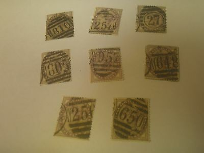 Small Lot Collection Late 1800s Great Britain Old Stamps Numbered Cancellations