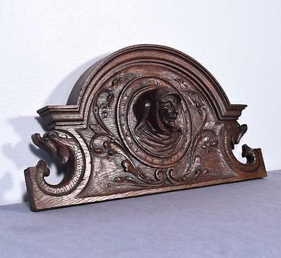 "*23"" French Antique Pediment/Crest in Oak Wood with Jester's Face and Serpents"