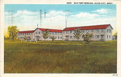 B59/ Miles City Montana Mt Postcard 1949 Old Fort Remains Military