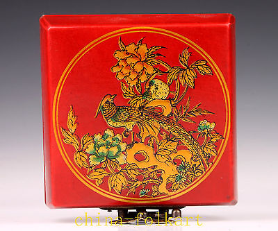 Wood Red Phoenix Bird Statue Leather Jewelry Box Collectable Handwork Decoration