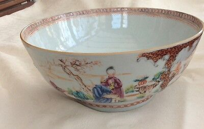 ANTIQUE 18th CENTURY CHINESE EXPORT FAMILLE ROSE PUNCH BOWL