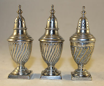 3 Antique Silver Plated Fluted Pepperettes