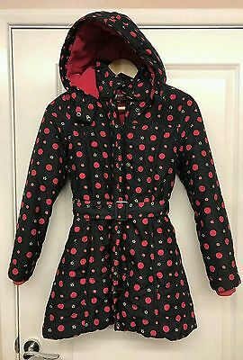 Jasper Conran girls hooded belted lined padded winter coat 11-12 year's vgc