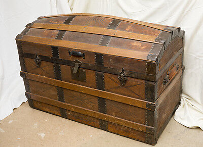 Victorian wood banded leather covered dome topped trunk, pirate's, blanket chest