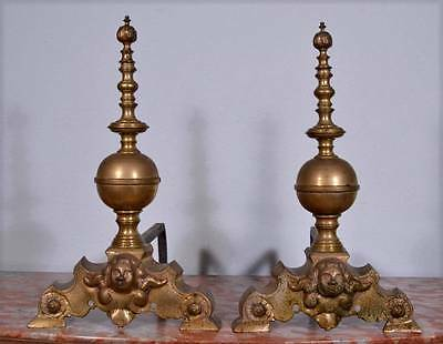 "18"" XXL Flemish Antique Bronze Andirons with Cherubs Fireplace Chenet (K)"