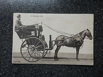 1906 fr Wrench postcard - A Hansom Cab - Horse drawn carriage -early Taxi