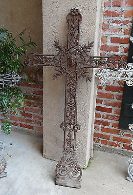 Antique French Cast Iron Cross Crucifix- Chic ~Chapel Garden WALL Architectural