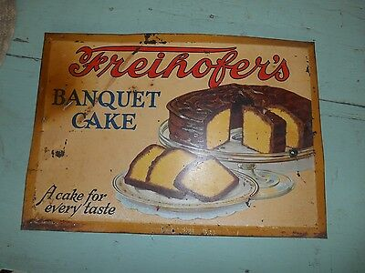 Antique FREIHOFER'S BANQUET CAKE Old Tin Sign