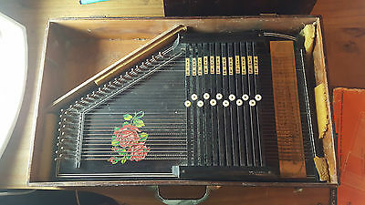 Vintage Autoharp Piano Harp in original wooden box / Instruction book / 1950's