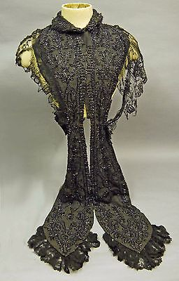 Gorgeous Victorian Mourning Cape with Lappets, Jet?