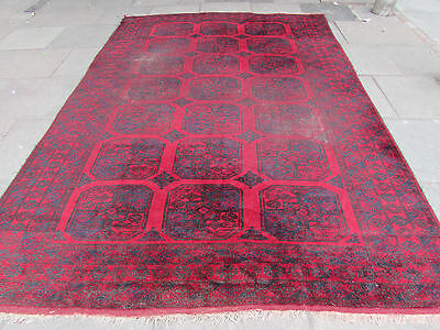 Old Shabby Chic Traditional Hand Made Afghan Oriental Red Carpet 338x228cm