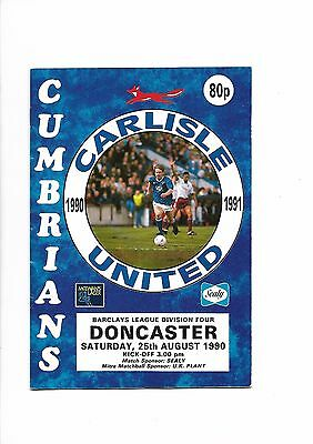 Carlisle United  v  Doncaster Rovers, 25th August 1990