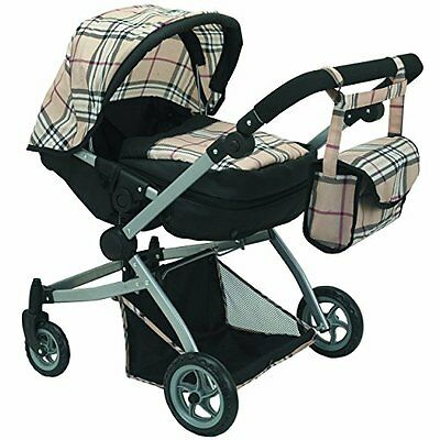 Babyboo Deluxe Twin Doll Pram/Stroller Beige Plaid & Black with Free Carriage -