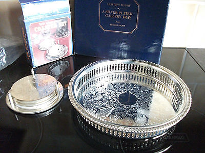 Nice Vintage Silver Plate Drinks Coasters Set Stand + Drinks Serving Tray Boxed