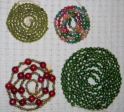 Antique 4 Victorian Christmas Tree Mercury Glass Double Bead Garland VTG 172""