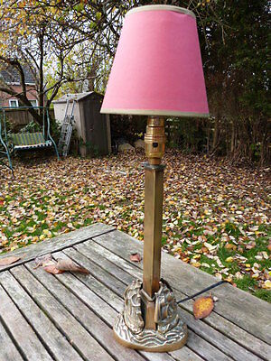 Stunning Vintage Art Deco Nautical Solid Brass Table Lamp And Shade.