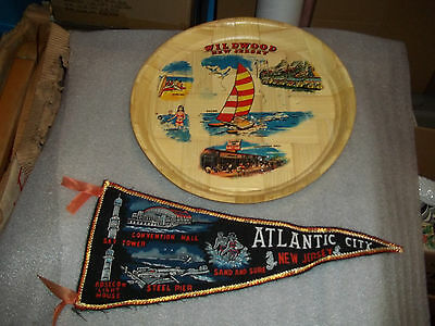 Vintage New Jersey Travel Souvenirs Pennant And Wicker Serving Tray