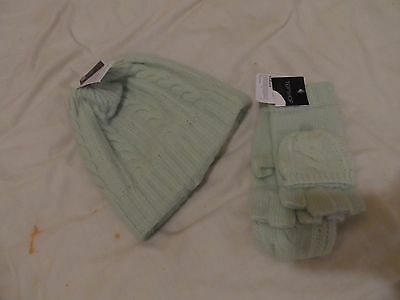 BNWT topshop mint green hat and glove set
