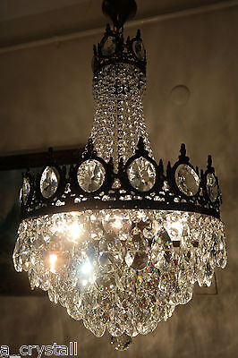 Antique Vnt.Big French Basket Style Brilliant Crystal Chandelier Lamp 1940's16in
