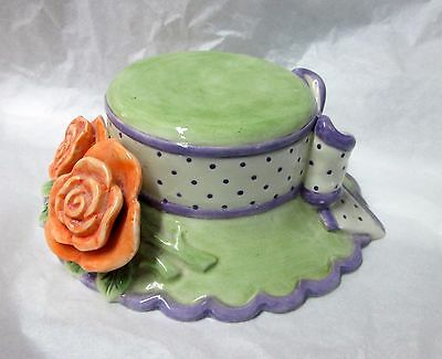 Fitz and Floyd - EASTER BONNET Trinket Box - Roses & Ribbons - Fancy Hat Shaped!