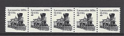 USA 1987 TRANSPORT RE-ENGRAVED 2c PLATE COIL STRIP OF 5, SCOTT 2226, SG 2151 MNH